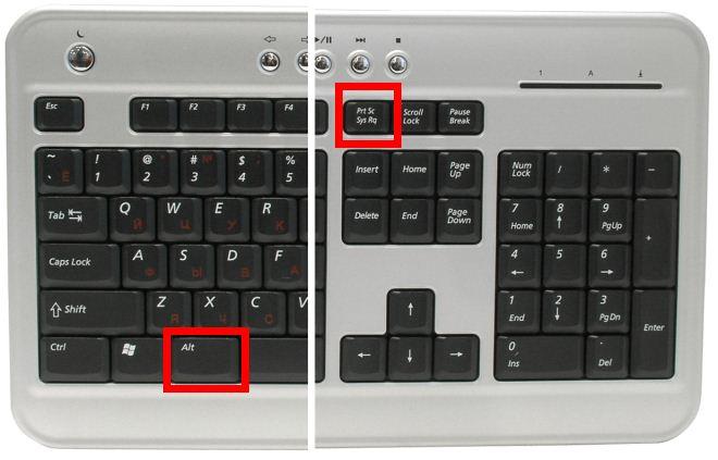 сочетание клавиш Alt+PrtScr