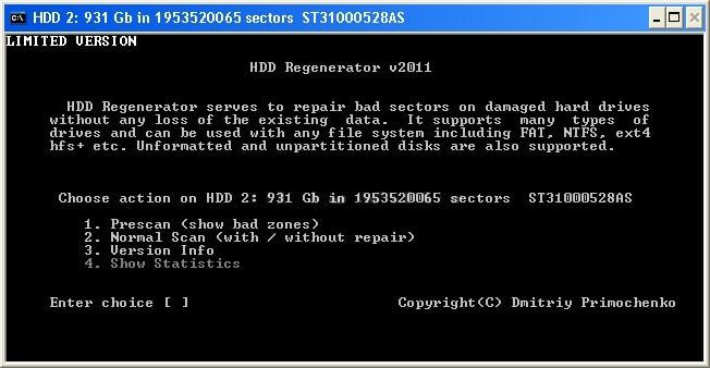 варианты диагностики HDD Regenerator