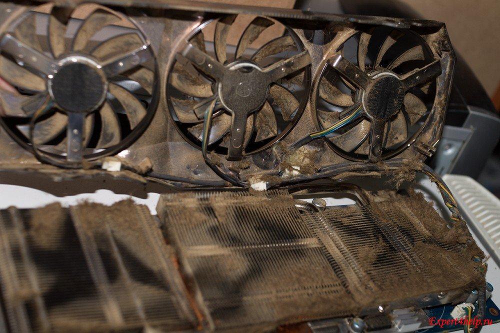 перегрев видеокарты от загрязненности куллеров